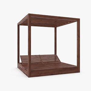 3D model Wood Outdoor Pergola(1)