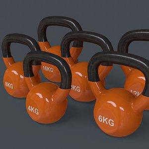 PBR 4-16KG Kettlebell V1 - Orange 3D model