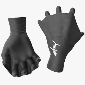 3D Darkfin Webbed Power Swimming Gloves Dry Rigged model