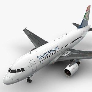 AirbusA319-100SOUTH AFRICAN AirwaysL1451 3D model