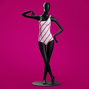 Girls Band Woman swimsuit One-shoulder 3D model