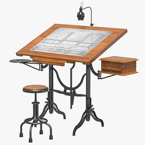 Antique Drafting Table 3D model