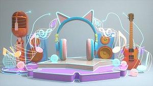 3D Music Festival Music Beauty Chan Cartoon Beauty Chan Show Childlike Neon Beauty Chan Trend Music Fes