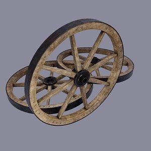 low-poly medieval wheel modelled 3D model