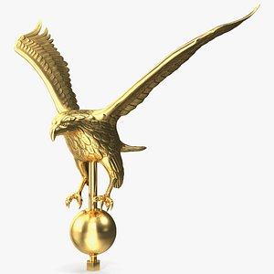 gold eagle flagpole topper 3D model