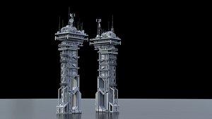 scifi tower building 3D model