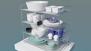 ceramic plates cups 3D