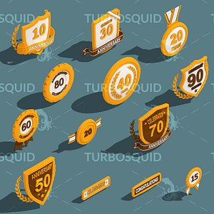 3D model Low Poly Anniversary Medal Isometric Icon