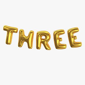 Foil Baloon Words Three Gold model
