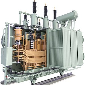 3D High Voltage Power Distribution Transformer Inside 46