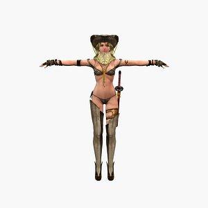 Girl musketeer V2 3D model