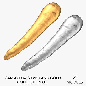 3D Carrot 04 Silver and Gold Collection 01 - 2 models