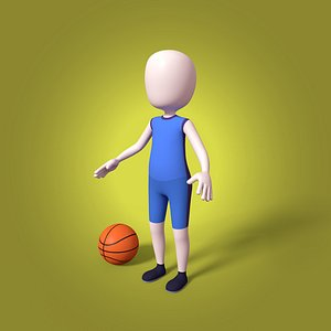 cartoon basketball player mesh 3D model