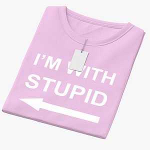 Female Crew Neck Folded With Tag Pink Im With Stupid 02 3D model