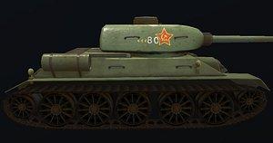t-34 soviet tank hand-painted 3D model
