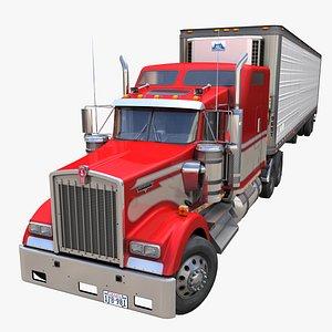 3D Kenworth W900 semi trailer PBR model