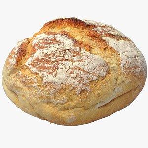 Realistic Round White Bread 2 3D model