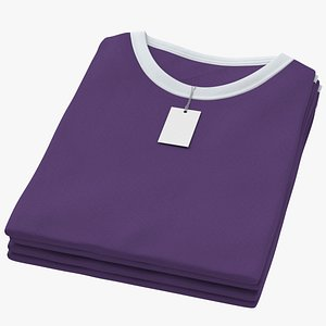 Female Crew Neck Folded Stacked With Tag White and Purple 02 3D model