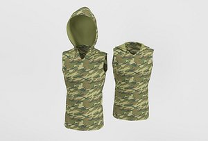 s khaki hooded t-shirt 3D