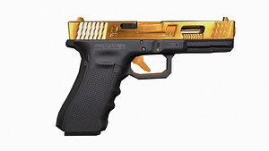 pistol gold 3D model