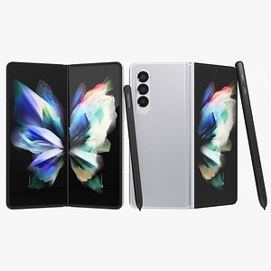3D Samsung Galaxy Z Fold 3 Silver with S-Pens Animated