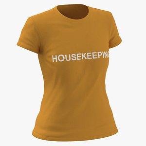 3D Female Crew Neck Worn Orange Housekeeping 02