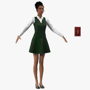 Light Skin Black Teenage Schoolgirl T Pose 3D