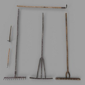 3D Pack of 6 Medieval Farm Rakes and Hoe model