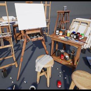 3D art supplies painting model
