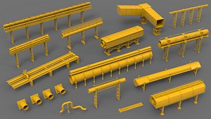 industrial piping pipeline 3D model