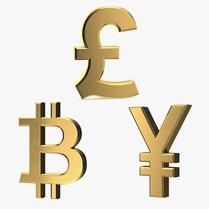golden currency symbols gold 3D model