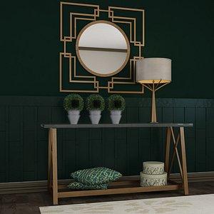 Living Room Wood Mirror Table Glass Metal Artdeco Set 3D model