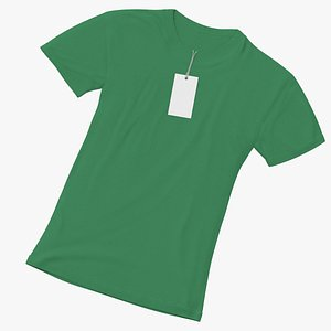 Female Crew Neck Laiying With Tag Green(1) 3D model