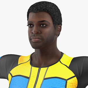 3D african american fitness instructor model