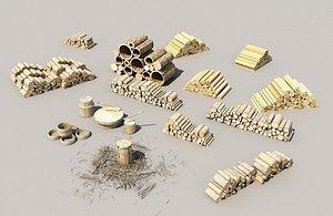 3D sawmill   wood pile  trees model