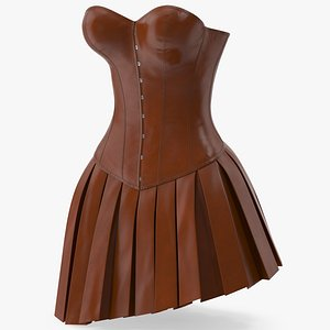 3D Leather Corset with Skirt 3