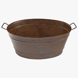 Large Rusty Steel Oval Tub 3D model