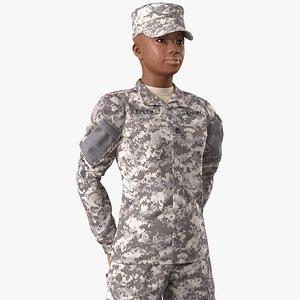 3D black female soldier acu model