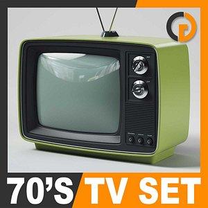 retro style 70 television set 3d model