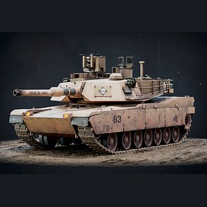 3D M1A2 Abrams Game Ready model
