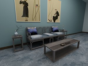 3D Sitting room tea table sofa contracted