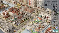 Tile pack city 3d low poly 6 Industrial