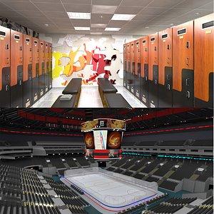 Ice Hockey Arena and Locker Room 3D