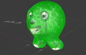 fluffy green creature 3D model