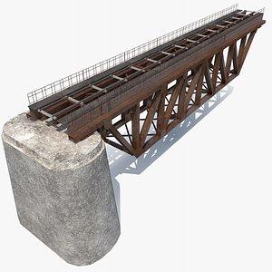 railway bridge section railroad rails 3D model