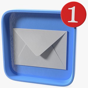 3D email notification icon mail