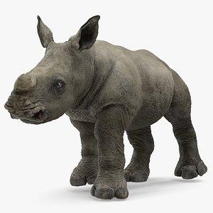 3D baby rhino fur rigged