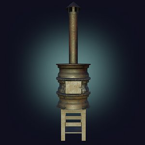 3D model Handmade Stove furnace PBR low-poly game ready Low-poly 3D model