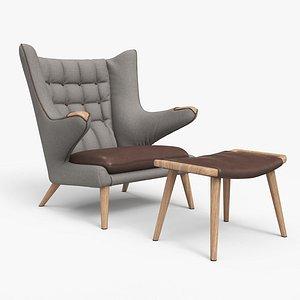 3D model Papa Bear Chair And Ottoman
