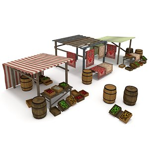 3D medieval marketplace markets model